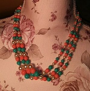 Vintage necklace 3 strand plastic beads 19""
